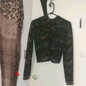 Guess mesh long sleeve hoodie crop top